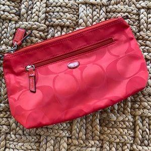 New Coach Red Signature Canvas Zip Top Makeup Bag